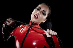 Red PVC Catsuit and Whip