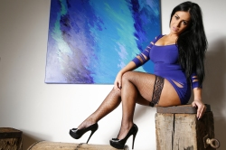 Jasmine jones  fishnet and blue dress tease. WOW! With my tight figure hugging blue dress and black fishnets...this set is for worshiping freaks! Stare at perfection. From head to toe... get to your knees and submit!